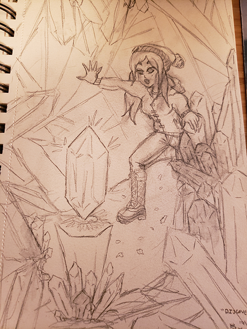 Drawn sketch of a girl in a snowy weather outfit Discovering a levitating Crystal in a Cavern