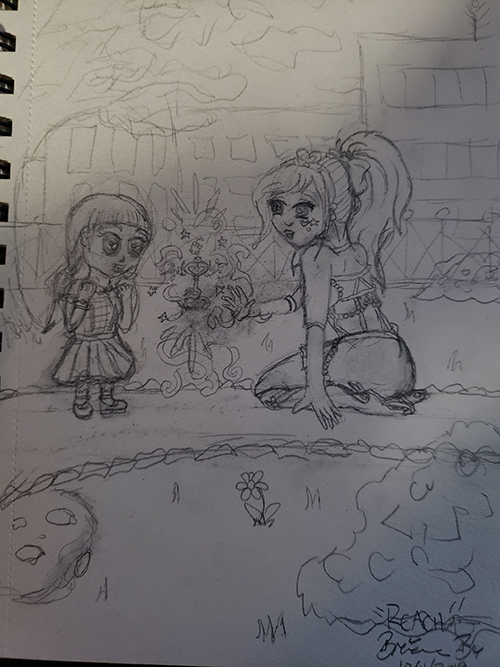 Drawn sketch of the magical girl levitating magical key with magical aura emanating from it, while a young girl looks on in awe.