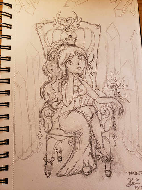 Drawn sketch of the magical girl seated on a Throne in regal attire with a crown and with the key hovering over her resting hand