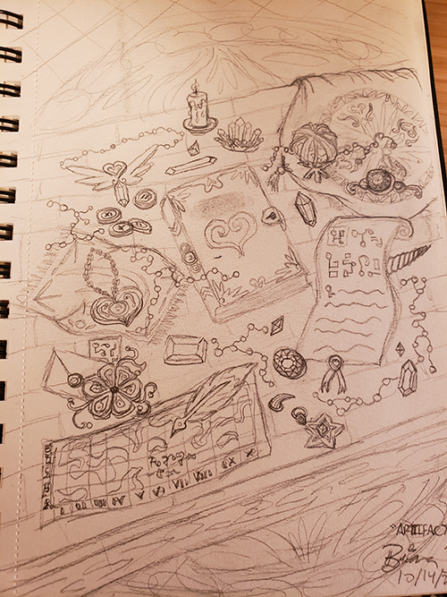 Drawn sketch of Various magical items laid out on a table, including a tome with a heart on it and a scroll with ancient glyphs.