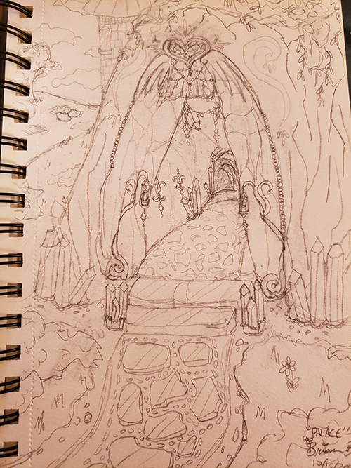 Drawn sketch of a cavern with an opening that is adorned with gems and guilding, and features a giant cut gem of a heart with wings above the top. The outside path features cut glass and crystal paving, and inside there are gilded lanterns and cut crystals lining the path. The cave is covered in vines along the top, and behind the cavern a castle spire is visible.