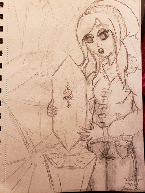 Drawn sketch of the snowy outfitted Girl holding the Discovered crystal, seeing a key inside of it.