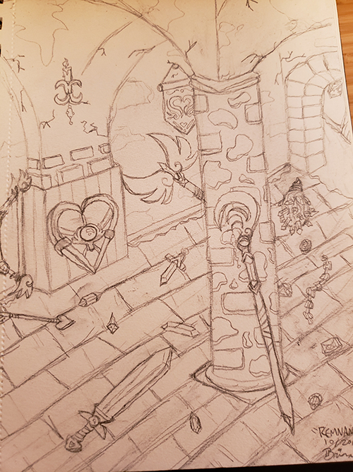 Drawn sketch of an ancient castle dungeon with cracks in the walls and stone accents on pillars and doorways. The floor is strewn with various weapons and gems. The weapons include a staff, sword, heart shield, double-headed axe which has wings as the axe head, and a crystal spiked club.