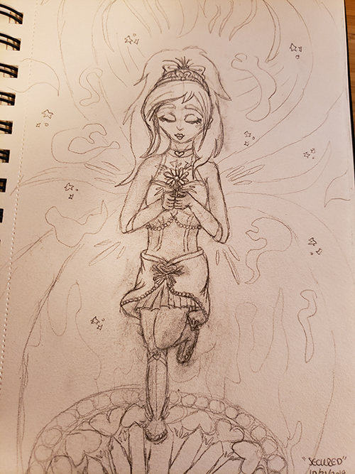 Drawn sketch of the magical girl standing on a magical summon circle, with one leg lifted and clutching a flower to her chest with both hands while her eyes are closed. Magical aura emanates around her.