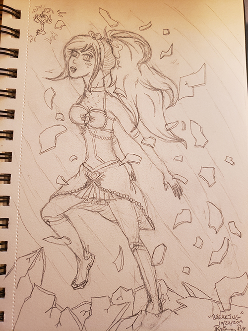 Drawn sketch of the magical girl breaking through a crystalline/glass floor, with shards flying past her. She is looking skyward as the magical key flies out in front of her.