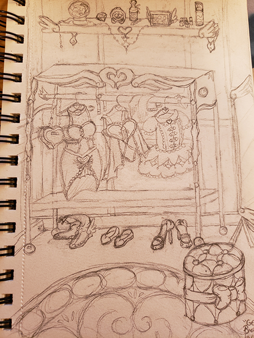Drawn sketch of a changing room which features a portable closet rack that has a winged heart on it. The closet rack features various magical girl tops, dresses, and accessories, and magical girl shoes are on the floor below the rack. A shelf above the rack features various trinkets and beauty items. A large rug has a tufted ottoman with a bow on it, and a winged mirror is visible on the right side.