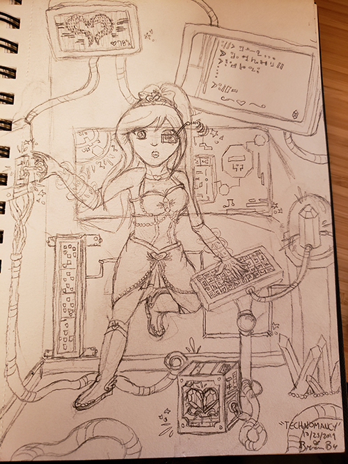Drawn sketch of the magical girl in a technological lab. She has a foot pushed against the wall and is wearing an eye glass that is sending a signal from an antennae, and her arms have circular auras on them. She is typing at a glyph-based keyboard on a stand with one hand, while the other holds the magical key into a slot on the wall, which has several cables and wires coming from it. A computer case on the floor features a heart crystal shape. The keyboard is connected to a crystal in a container, which is emanating magical power. Various monitors are on the screen, some of which are showcasing maps and system information, and others which show ancient glyphs.