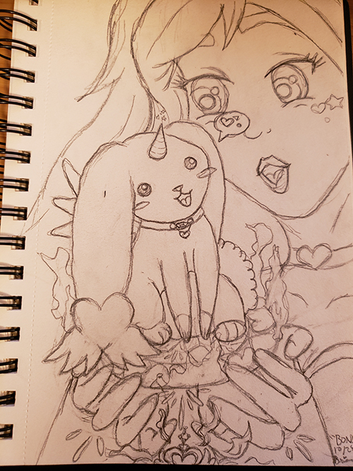 Drawn sketch of the magical girl holding a small pedestal in both hands, which has an aura around it and has a small bunny with wings and a unicorn horn in the cneter. it is wearing a collar with a gem and heart, and looks at the magical girl with a talking bubble that shows a heart. The magical key is visible below, glowing.