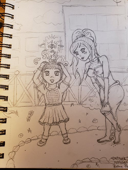 Drawn sketch of the magical girl bending forward with her hands on her knees smiling, while the little girl is wearing her magical tiara and looking at the magical key float above emanating a magical aura.
