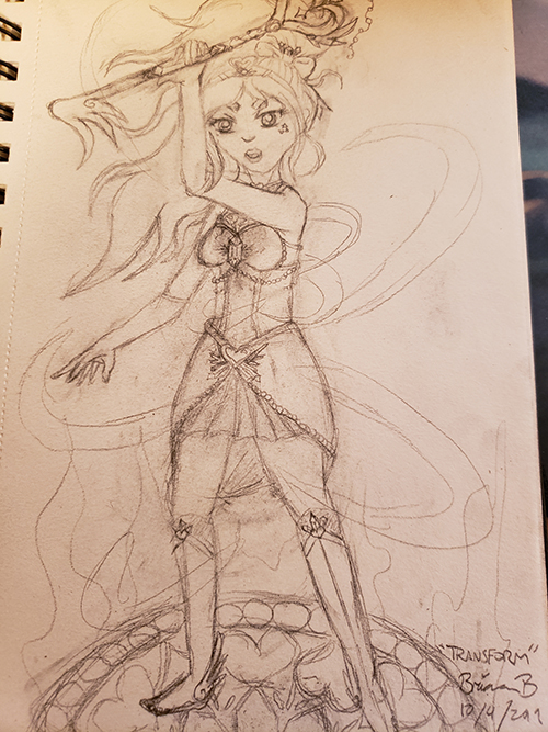 Drawn sketch of the girl wielding a transformed key staff over her head, as her appearance has been transformed from regular clothes to magical attire.