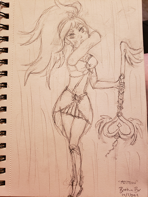 Drawn sketch of the magical girl in a battle stance, holding her magical key staff to her side as she raises an arm behind her.