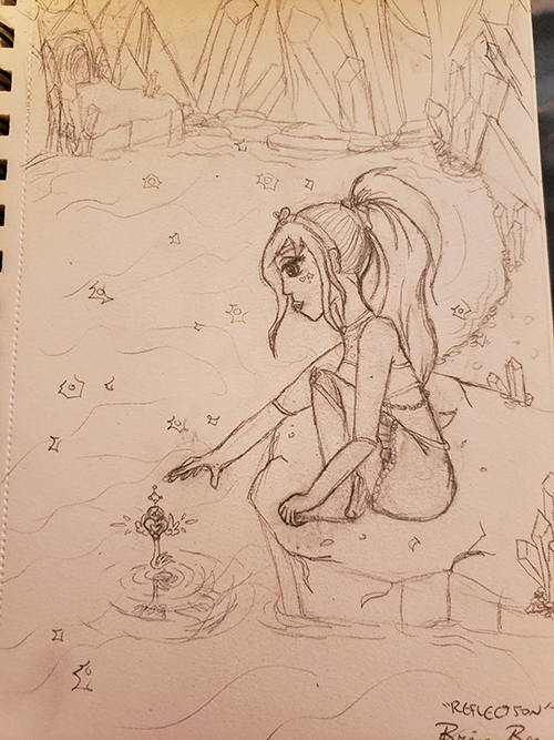 Drawn sketch of the magical Girl levitating the key over a body of water, where it barely touches the surface and creates a ripple.