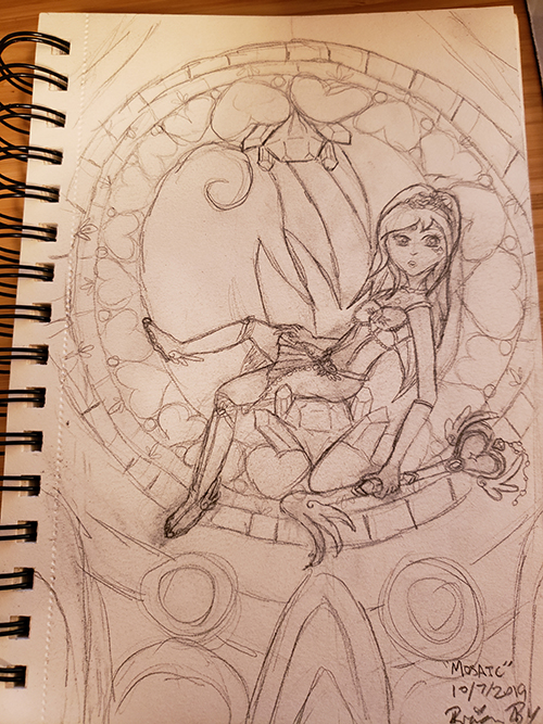 Drawn sketch of the magical girl sitting in a stained glass window, holding a magical key staff and looking outward.