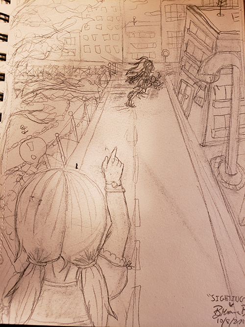 Drawn sketch of a little girl pointing far down the street, where she sees the magical girl sprinting away toward the rooftops.