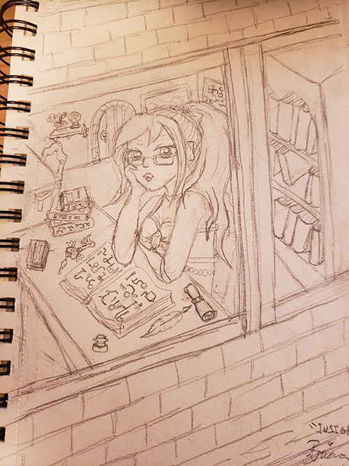Drawn sketch of the magical girl seated in a classroom with glasses on, looking out the window with a textbook open in front of her