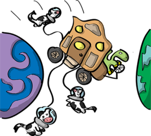 Colored digital drawing of a brontosaurus driving an old-time stagewagon between two planets with several cows in space helmets tethered to it. This is an event card from the Prometheusaurus game.