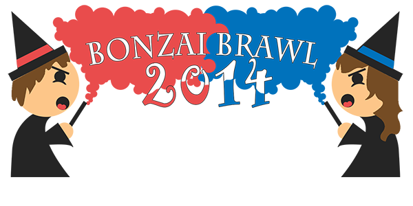 "Logo image featuring two wizards with red banded and blue banded hats wielding wands from either side. Their wands emit their colored clouds of smoke, billowing and mingling at the center of the image. The text ""Bonzai Brawl 2014"" is cut from the clouds in the middle"
