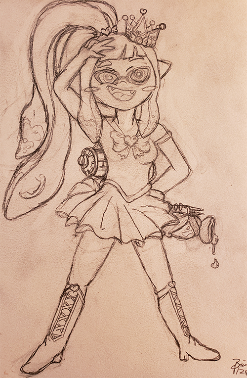 Drawn sketch of an inkling from Splatoon 2, wearing a magical girl scout outfit and a crown. The inkling has their tentacles in a heart hair tie to form a ponytail, and is smiling with its hand to its forehead showing a peace sign. Its other arm is at its side, holding a splattershot weapon that is dripping ink.