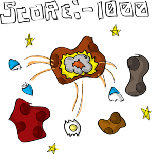 Colored digital drawing of several asteroids, and on the center one a spaceship has impacted and broken into pieces. The text Score: -1000 appears above in a pixel style font. This is an event card from the Prometheusaurus game.