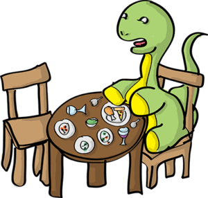 Colored digital drawing of a brontosaurus sitting at a dining table with several finished plates of food in front of him.This is an event card from the Prometheusaurus game.