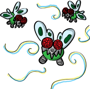 Colored digital drawing of several bugs resembling flies that have technological modifications to their facial area. This is an event card from the Prometheusaurus game.