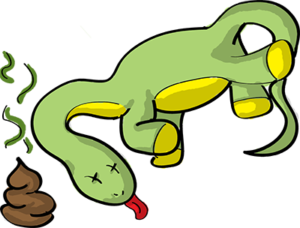 Colored digital drawing of a brontosaurus with x's for eyes and its tongue sticking out, next to a pile of dung. This is an event card from the Prometheusaurus game.