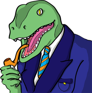 Colored digital drawing of a raptor in suit coat and tie with a pipe. This is an event card from the Prometheusaurus game.