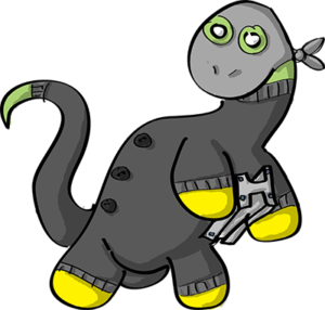 Colored digital drawing of a brontosaurus in a black knit suit and a grey ski mask holding a piece of steel. This is an event card from the Prometheusaurus game.