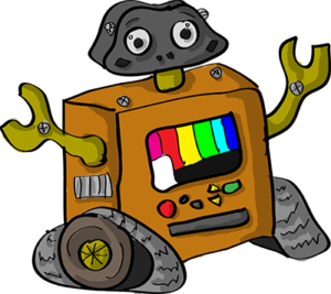 Colored digital drawing of a robot with tired treads and a screen on its front featuring colored bars. This is an event card from the Prometheusaurus game.