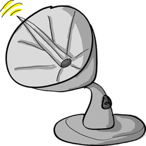 Colored digital drawing of a satellite dish which is emitting a signal. This is an event card from the Prometheusaurus game.