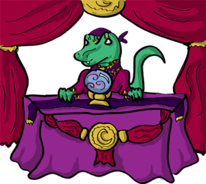 Colored digital drawing of a raptor wearing fortune telling clothes and sitting at a table draped in fancy cloth with a crystal ball on it. There is a curtain hung behind the raptor. This is an event card from the Prometheusaurus game.