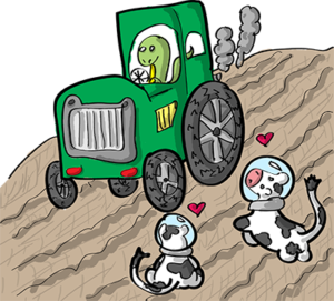 Colored digital drawing of a brontosaurus driving a tractor over tilled land, while cows with space helmets look on with hearts above their heads. This is an event card from the Prometheusaurus game.