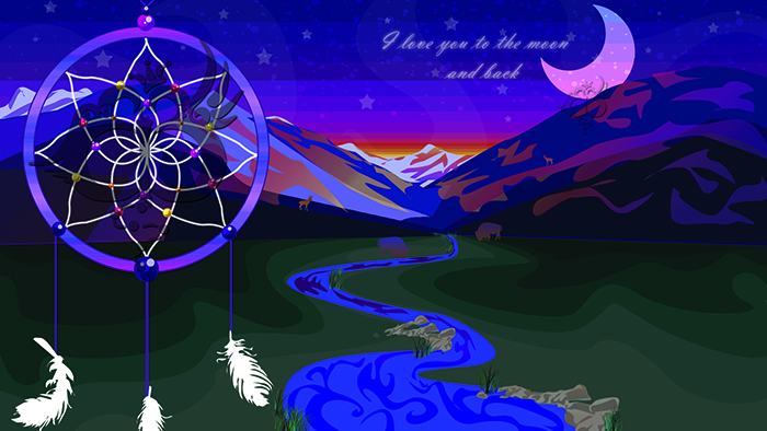 "Large graphic featuring a pink moon in a night sky with a faint sunrise over the horizon. Snow peaked mountains reflect colors from the sunrise. The plain below has a winding river running through it, with silhouettes of buffaloes feeding near it and silhouettes of deer along the mountain ridges. The text ""I love you to the moon and back"" is written in the sky. There is a dreamcatcher to the left of the scene with gems in between the weaved yarn, and feathers dangling below it."