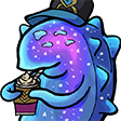 Colored digital drawing for an emote of CQ Cumber from Splatoon 2 holding a hot cocoa cup with his extending noodle arms, sipping on it from a straw while looking to the left