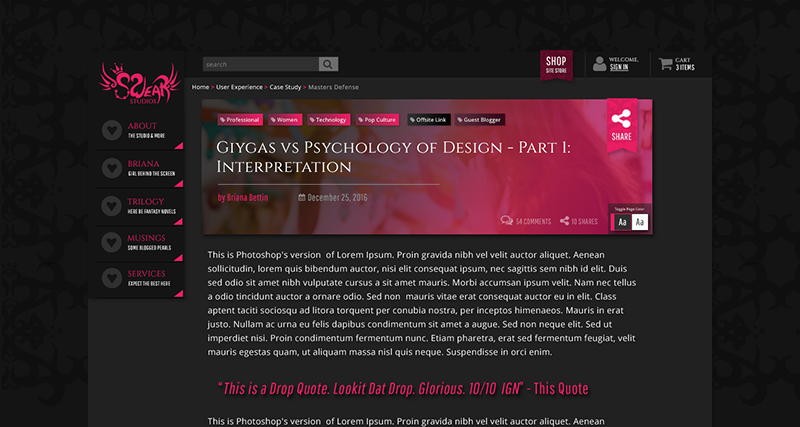 Image showcasing a website page mockup featuring content elements from the themed sticker sheet. All of these feature deep charcoal for main body content, white text, and pink headers and call outs. The page showcases a blog post with a header hero and breadcrumb above it.