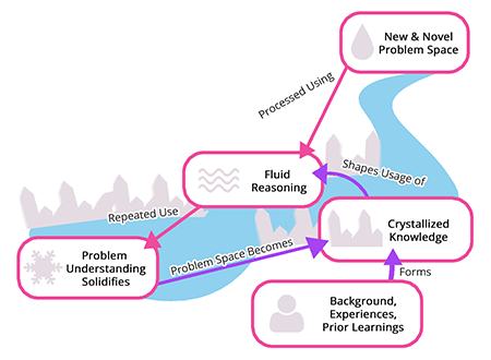 Diagram showcasing the process by which fluid reasoning helps to crystallize and shape knowledge. Ones background forms crystallized knowledge, which shapes usage of fluid reasoning. New problem spaces are processed using this reasoning, and repeated use of it solidifies problem understanding. This causes the problem space to become crystallized knowledge.