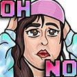 Colored digital drawing for an emote of Briana looking distressed while wearing a hat and holding her head, with the text