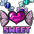 Colored digital drawing for an emote of several candies in swirled wrappers with bunches of wrapping on either end. A large pink candy in the center is not circular but more heart shaped, with more defined wrapper bunches that resemble wings. Text on the bottom says