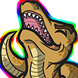 """Colored digital drawing of a goldenrod T-Rex with its head raised skyward and mouth open happily. It is surrounded in a rainbow aura, evoking similarity to the He-Man """"Hey-yay"""" meme"""