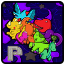 """Icon for the Prometheusaurus game which features the cast of dinosaurs on a space backdrop and a """"P"""" in a technological font in the corner."""