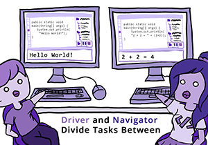 Colored digital drawing showing different observed pair programming behaviors. The text says