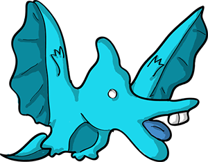 Colored digital drawing of a cyan pteradactyl.This is a player character option from the Prometheusaurus game.