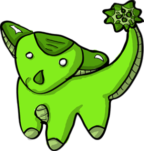 Colored digital drawing of a lime anklyosaurus. This is a player character option from the Prometheusaurus game.
