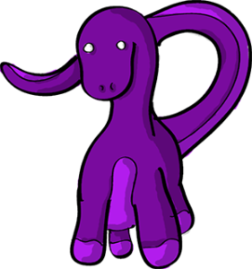 Colored digital drawing of a purple brontosaurus. This is a player character option from the Prometheusaurus game.