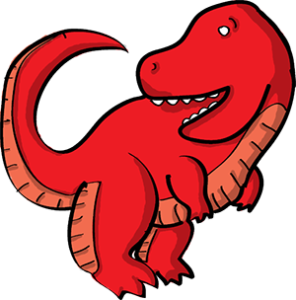 Colored digital drawing of a red tyrannosaurus rex. This is a player character option from the Prometheusaurus game.