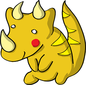 Colored digital drawing of a yellow triceratops with red cheeks. This is a player character option from the Prometheusaurus game.