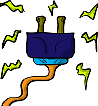 Colored digital drawing of a plug and its wire, with several electrical bursts eminating from it. This is a resource from the Prometheusaurus game.