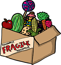 Colored digital drawing of box filled with various food items that says