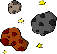 Colored digital drawing of several meteors and stars. This is a resource from the Prometheusaurus game.