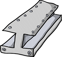 Colored digital drawing of a steel beam. This is a resource from the Prometheusaurus game.
